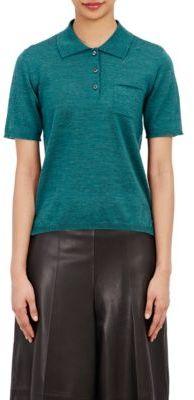 Maison Margiela Women's Knit Polo Shirt-TURQUOISE $650 thestylecure.com