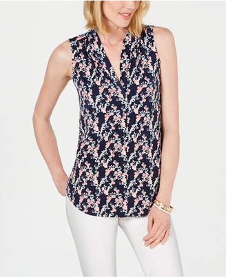 Charter Club Vine Pleated-Neck Top