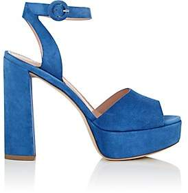 Barneys New York Women's Suede Platform Ankle-Strap Sandals-Blue