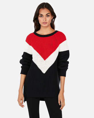 Express Chevron Shaker Knit Crew Neck Sweater