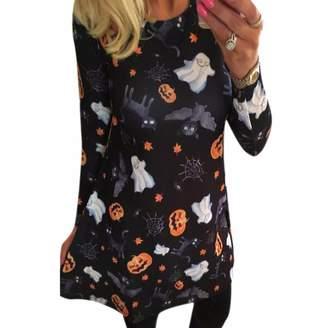 Paixpays Pumpkin Cartoon Printing Long Sleeve Dress Christmas Halloween Party Dress Sexy