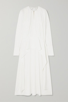 Victoria Victoria Beckham Victoria, Victoria Beckham - Ruffled Crepe Midi Dress - White