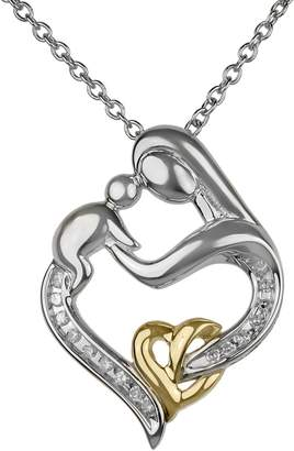 Fine Jewellery 14K Two-Tone Gold Mother and Child Pendant Necklace with 0.10 CT. T.W. Diamonds