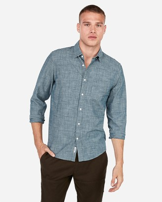 Express Slim Chambray Soft Wash Button-Down Shirt