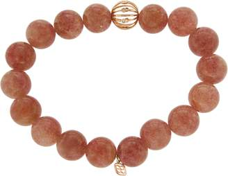Sydney Evan 14K Rose Gold Bezel Diamonds Red Brown Agate Beads Bracelet