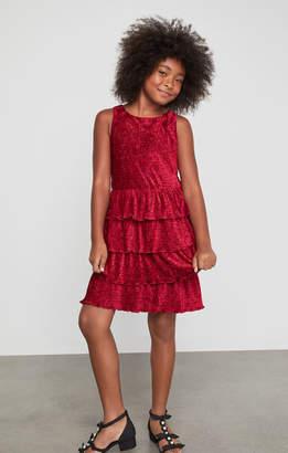 BCBGMAXAZRIA Sleeveless Tiered Velvet Ruffle Dress