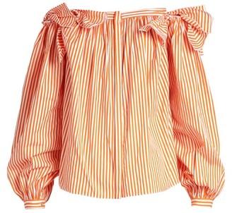 Maison Rabih Kayrouz Off The Shoulder Striped Cotton Top - Womens - Orange Stripe