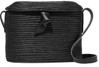 Cesta Collective - Leather-trimmed Woven Sisal Shoulder Bag - Black