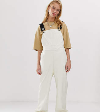 Collusion COLLUSION leather look overalls in white
