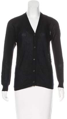 Prada Ruched V-Neck Cardigan