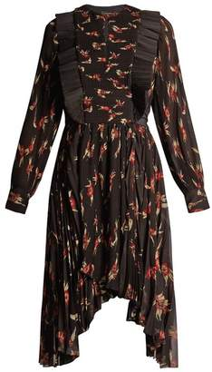 Isabel Marant Wesley Floral Print Pleated Dress - Womens - Black Red