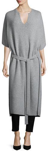 JOSEPHJoseph Felicie Long Tie-Front Cashmere Sweater, Marble