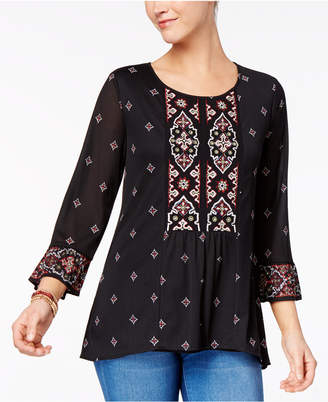 Style&Co. Style & Co Beaded Embroidered Top, Created for Macy's