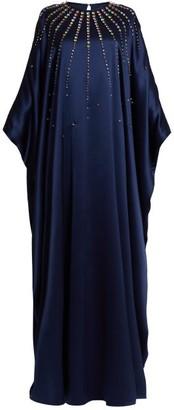 Carolina Herrera Crystal Embellished Silk Satin Gown - Womens - Navy Multi