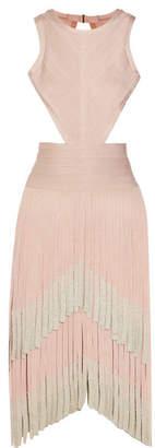 Hervé Léger - Cutout Dégradé Fringed Bandage Dress - Blush $1,890 thestylecure.com