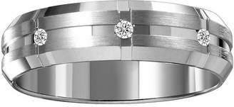 MODERN BRIDE Mens 6mm Diamond-Accent 10K White Gold Wedding Band