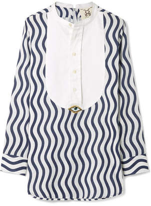Figue Embellished Striped Cotton-gauze Top - Navy