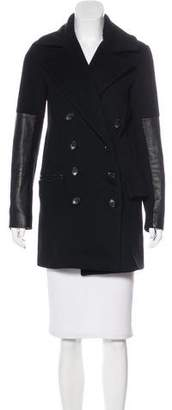 Diane von Furstenberg Leather-Trimmed Wool Coat