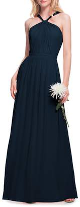 #Levkoff Halter Neck Chiffon Gown