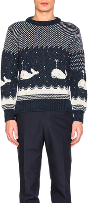 Thom Browne Whale Icon Jacquard Pullover Sweater $480 thestylecure.com