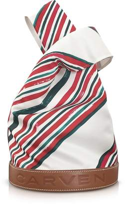 Carven Fleurus Striped Fabric and Leather Tote Bag