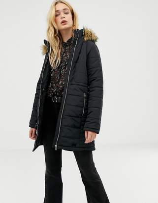 Vero Moda Faux Fur Trim Padded Coat