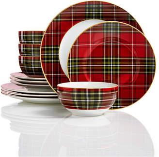 222 Fifth Wexford Plaid 12-Pc. Dinnerware Set