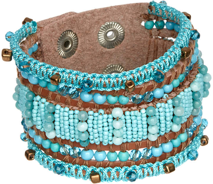 Turquoise & Brown Faux Leather Bracelet