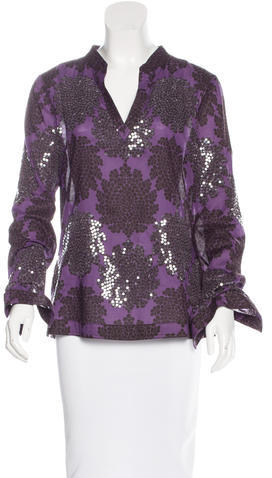 Tory BurchTory Burch Embellished Floral Print Top