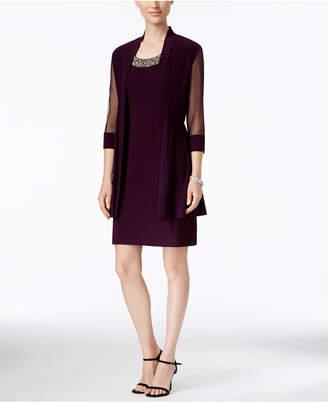 R & M Richards Embellished Dress and Illusion Duster Jacket