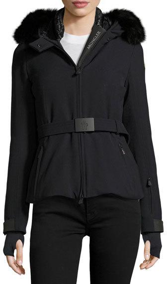 MonclerMoncler Bi-Stretch Technical Nylon Coat w/Fur Trim, Navy