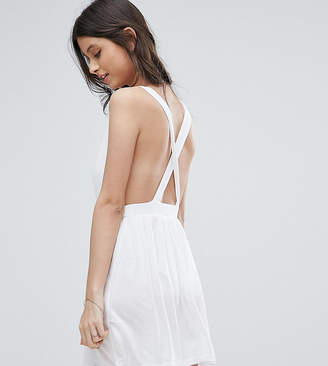 Asos DESIGN PETITE Cross Back Jersey Mini Beach Dress