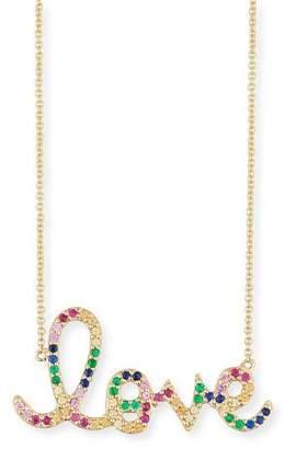 Sydney Evan Large Rainbow Sapphire Love Necklace