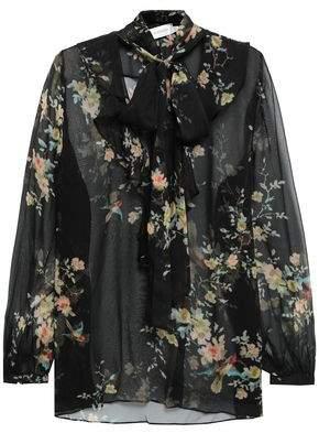 58440f963b4cd7 Zimmermann Pussy-bow Floral-print Silk-chiffon Blouse