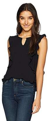 Amy Byer A. Byer Juniors Teen Ruffle Front Top with Neck Cut Out