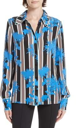 Diane von Furstenberg Floral Print Silk Shirt