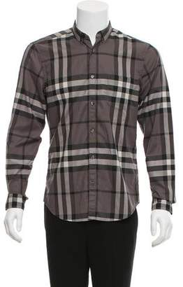 Burberry Smoked Check Button-Up Shirt w/ Tags