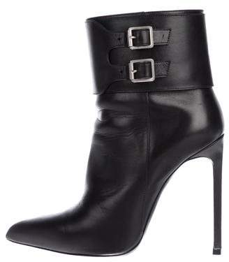 Saint Laurent Leather Pointed-Toe Boots