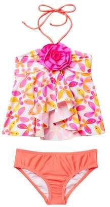 Love U Lots Butterfly Hi-Lo Tankini Set (Toddler & Little Girls)