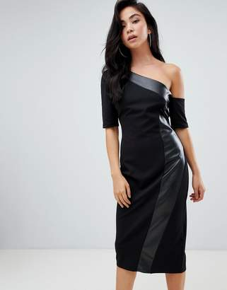Asos DESIGN one shoulder pencil dress with faux leather panel