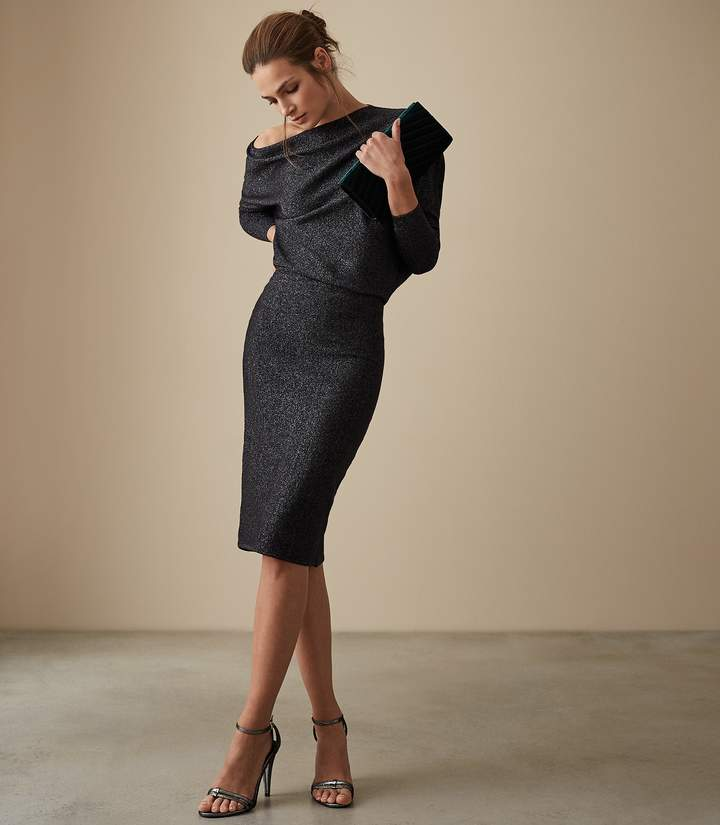 Rayna - Metallic Knitted Dress in Navy Metallic