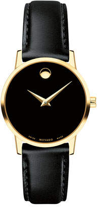 Movado 28mm Museum Classic Leather Watch, Gold/Black