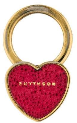 Smythson Leather Heart Keychain