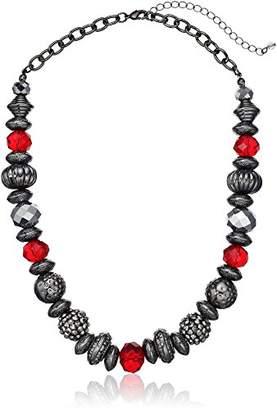 Fashion Mixed Bead Short Statement Strand Necklace