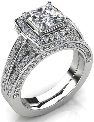 South Beach Diamonds 3.95 ct Princess Cut Diamond Halo Enaement Rin and Weddin Band Bridal Set in Platinum In Size 14