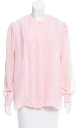 Diane von Furstenberg Long Sleeve Semi-Sheer Blouse