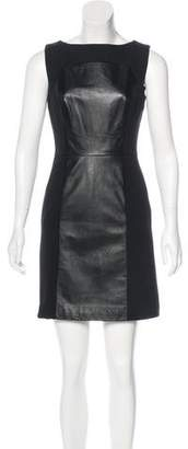 Milly Leather-Paneled Mini Dress
