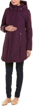 Momo Maternity Woven Prue Quilted Parka Coat