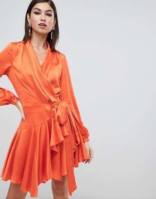 Forever Unique satin wrap dress