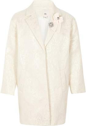 River Island Girls White iridescent jacquard brooch coat